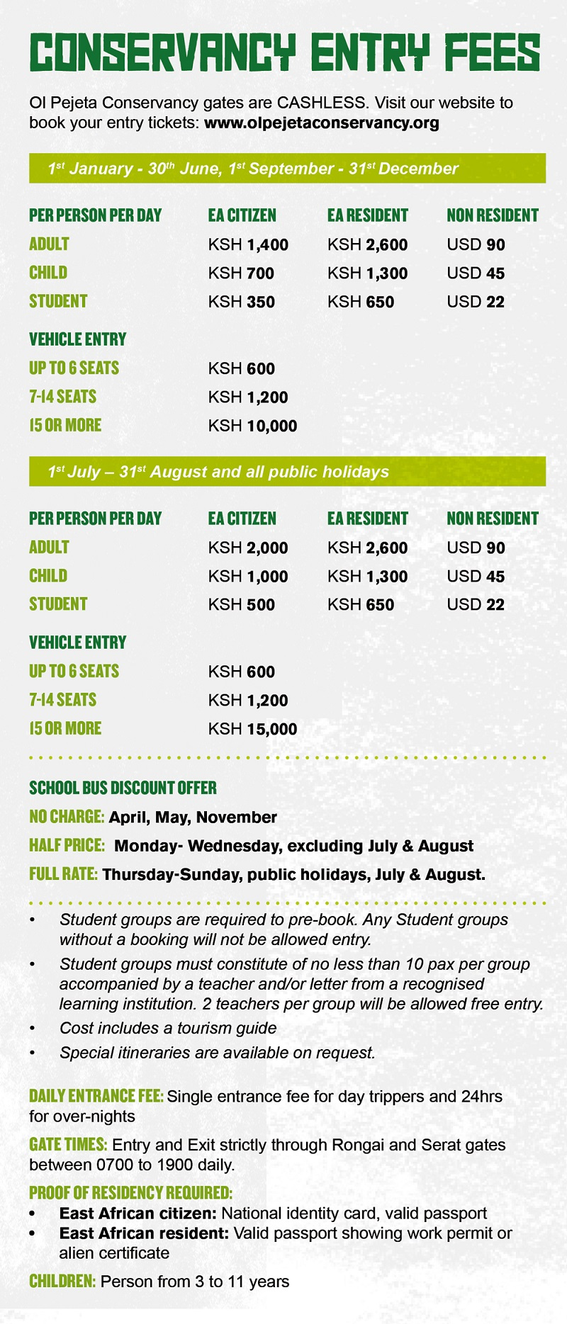 Ol Pejeta Conservancy Fees