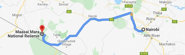 Distance between Nairobi and Masai Mara